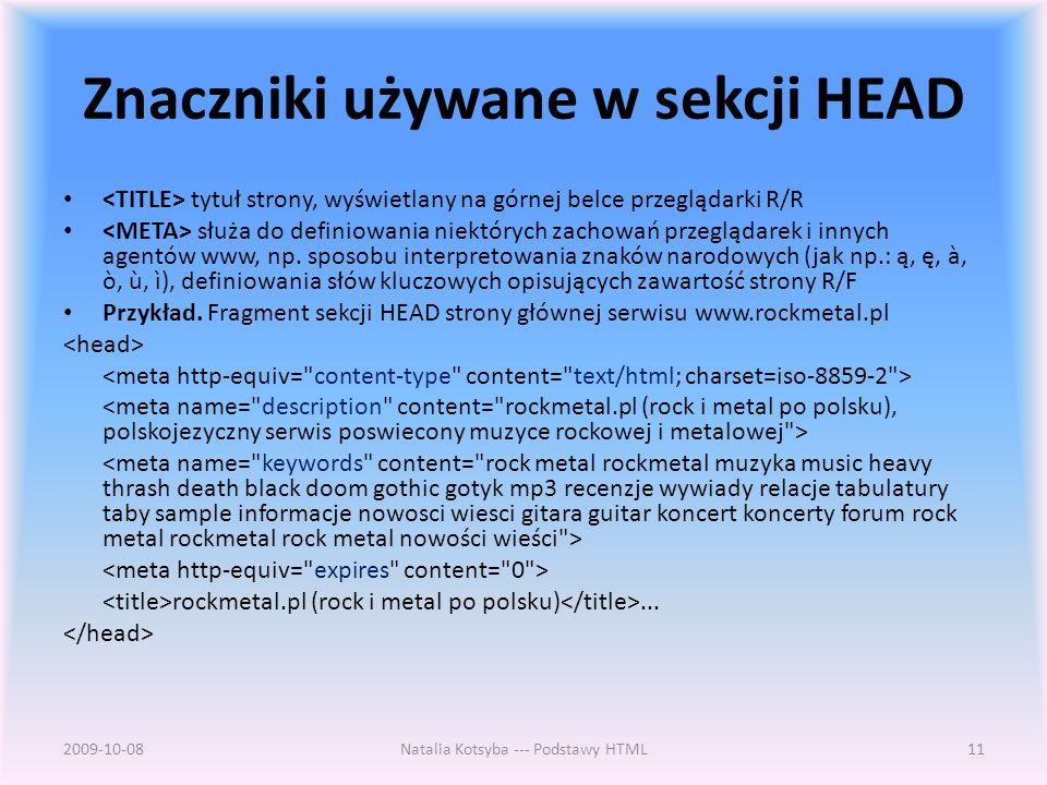 Znaczniki używane w sekcji HEAD