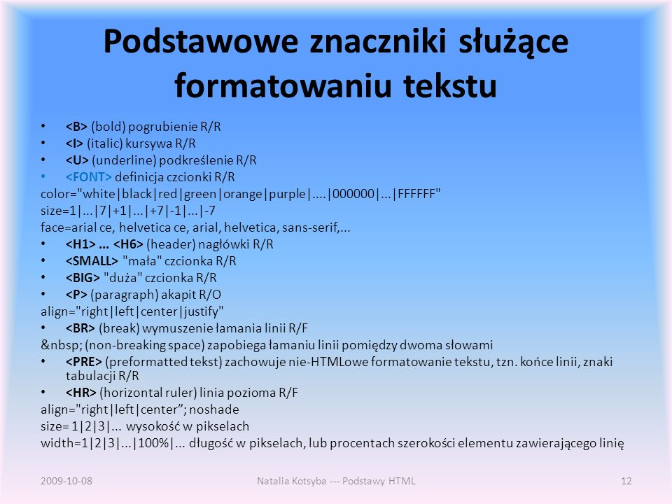Podstawowe znaczniki służące formatowaniu tekstu