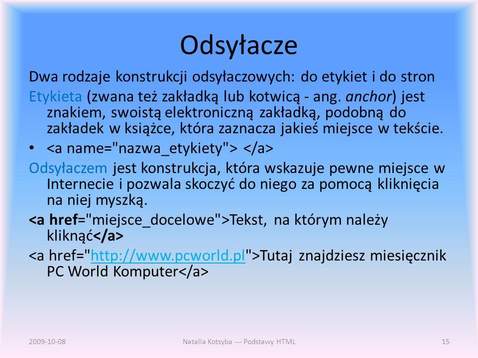 Natalia Kotsyba --- Podstawy HTML