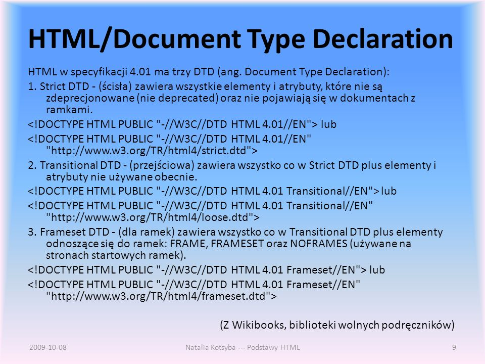 HTML/Document Type Declaration