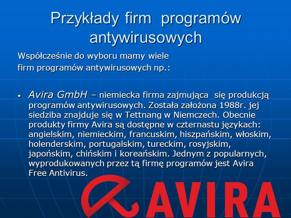 Przykłady firm programów antywirusowych