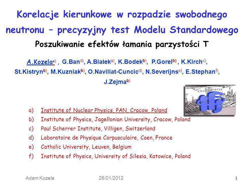 Korelacje kierunkowe w rozpadzie swobodnego neutronu – precyzyjny test Modelu Standardowego Poszukiwanie efektów łamania parzystości T