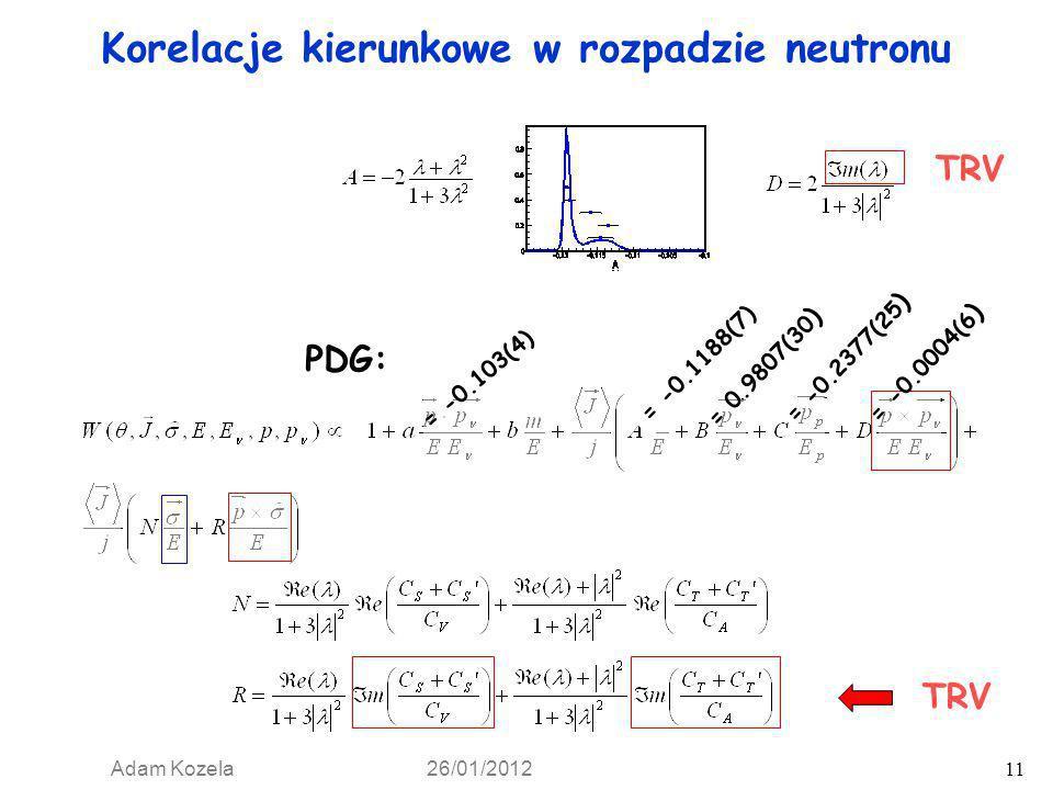 Korelacje kierunkowe w rozpadzie neutronu