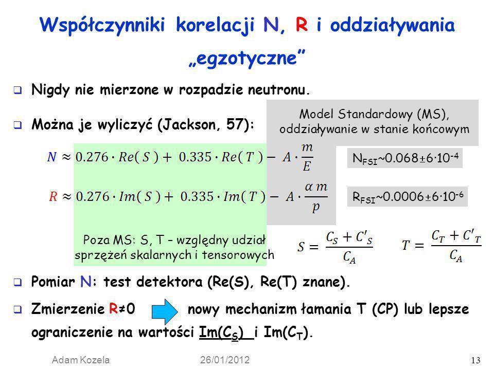 Współczynniki korelacji N, R i oddziaływania