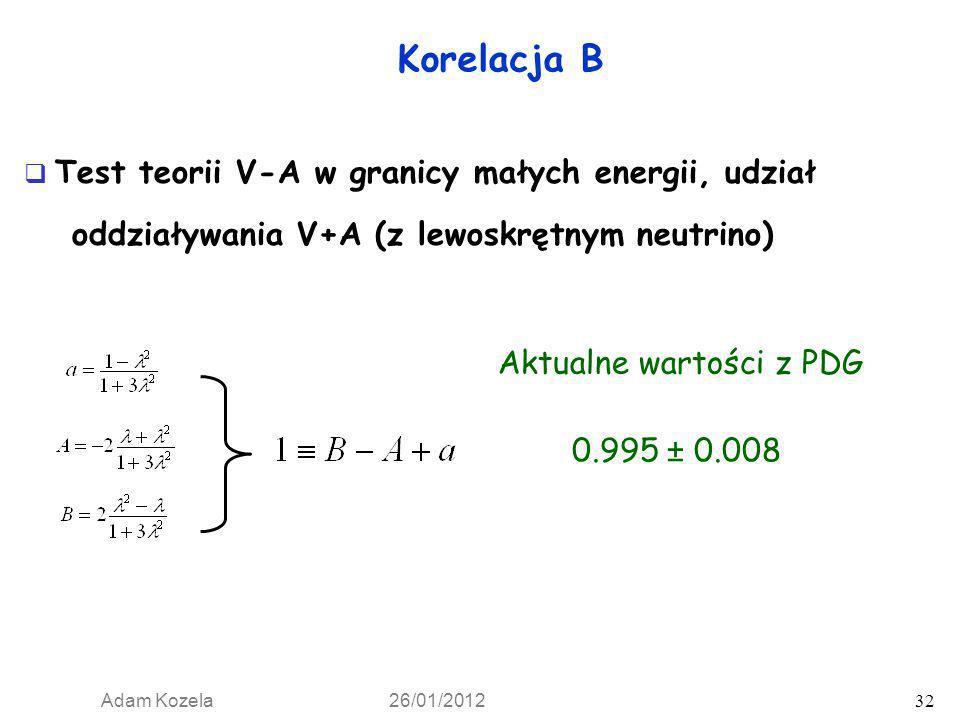 Test teorii V-A w granicy małych energii, udział