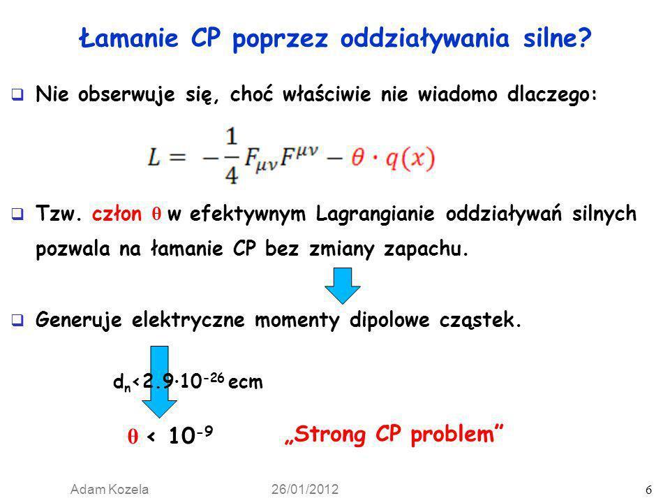 Łamanie CP poprzez oddziaływania silne