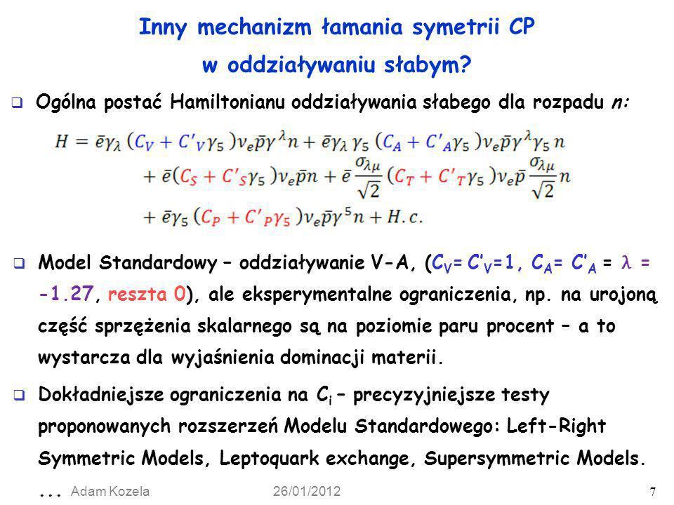 Inny mechanizm łamania symetrii CP w oddziaływaniu słabym