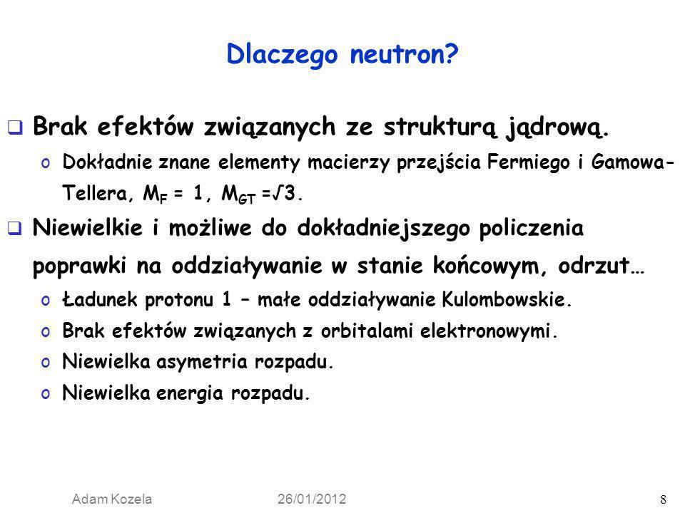Dlaczego neutron Brak efektów związanych ze strukturą jądrową.