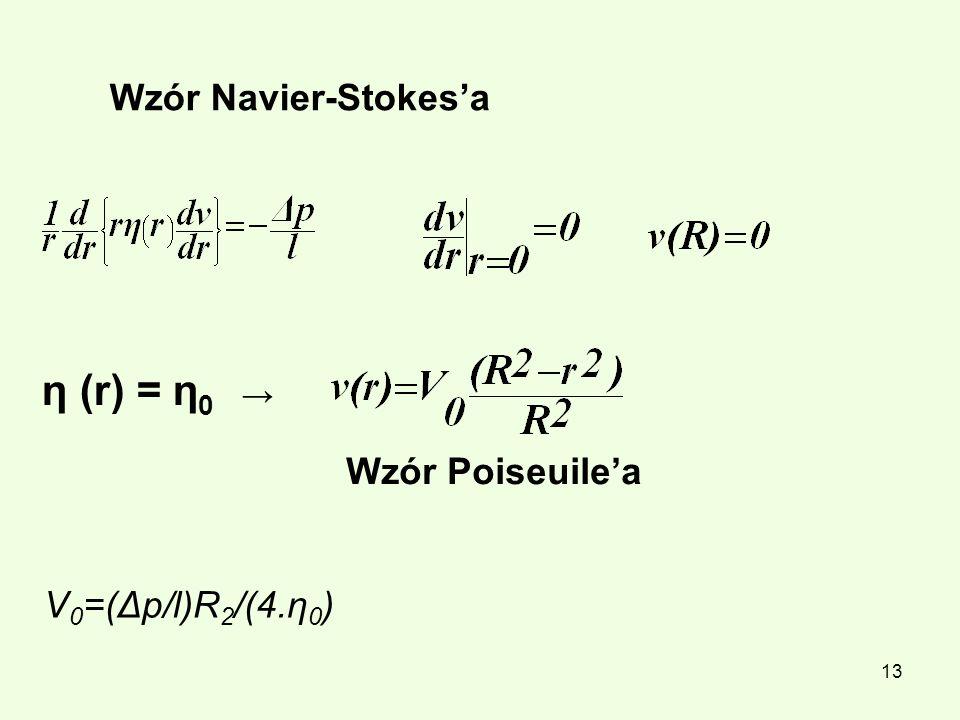 Wzór Navier-Stokes'a η (r) = η0 → Wzór Poiseuile'a V0=(Δp/l)R2/(4.η0)