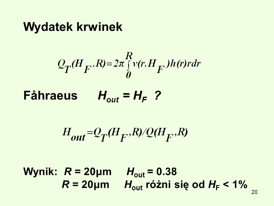 Wydatek krwinek Fåhraeus Hout = HF Wynik: R = 20μm Hout = 0.38
