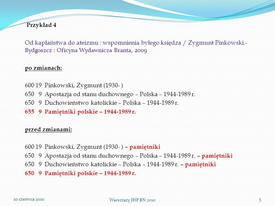 Przykład 4 Od kapłaństwa do ateizmu : wspomnienia byłego księdza / Zygmunt Pinkowski.- Bydgoszcz : Oficyna Wydawnicza Branta, 2009.