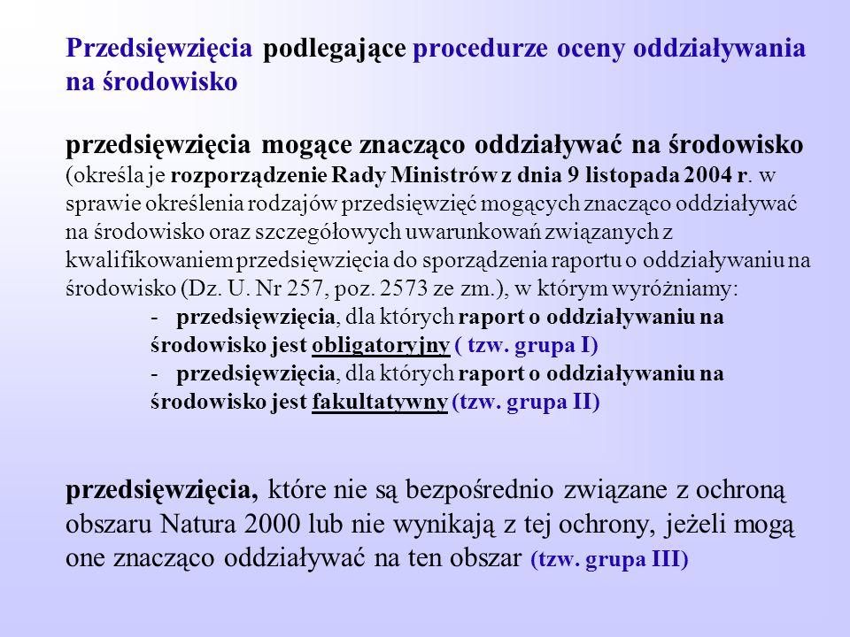 Przedsięwzięcia podlegające procedurze oceny oddziaływania na środowisko przedsięwzięcia mogące znacząco oddziaływać na środowisko (określa je rozporządzenie Rady Ministrów z dnia 9 listopada 2004 r.