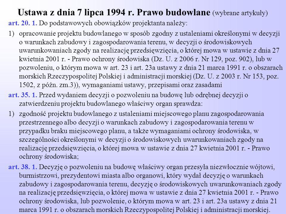 Ustawa z dnia 7 lipca 1994 r. Prawo budowlane (wybrane artykuły)