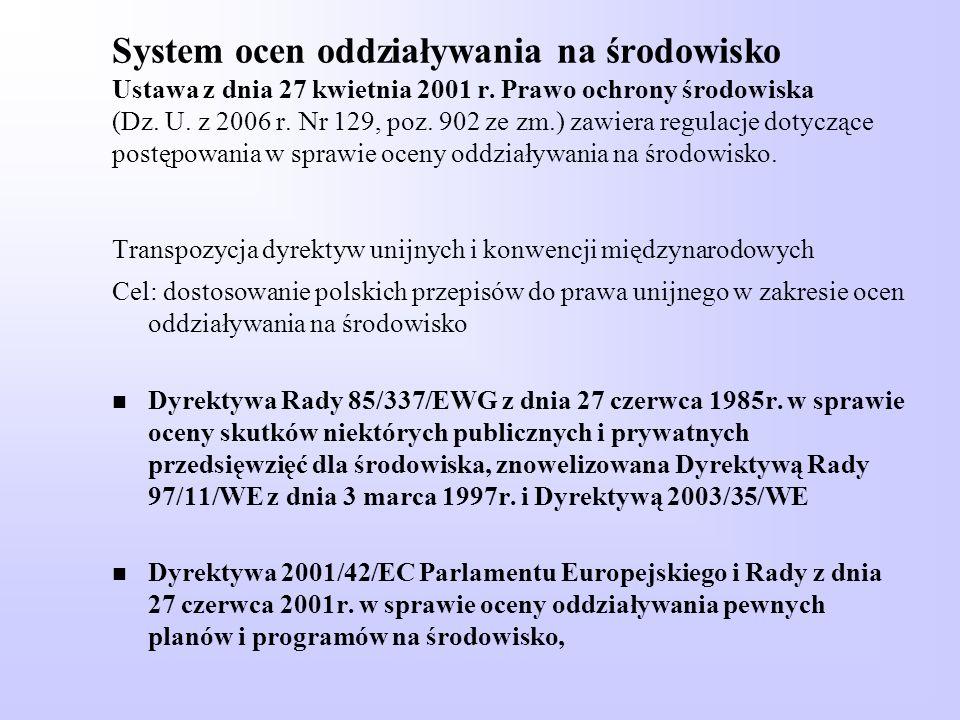 System ocen oddziaływania na środowisko Ustawa z dnia 27 kwietnia 2001 r. Prawo ochrony środowiska (Dz. U. z 2006 r. Nr 129, poz. 902 ze zm.) zawiera regulacje dotyczące postępowania w sprawie oceny oddziaływania na środowisko. Transpozycja dyrektyw unijnych i konwencji międzynarodowych