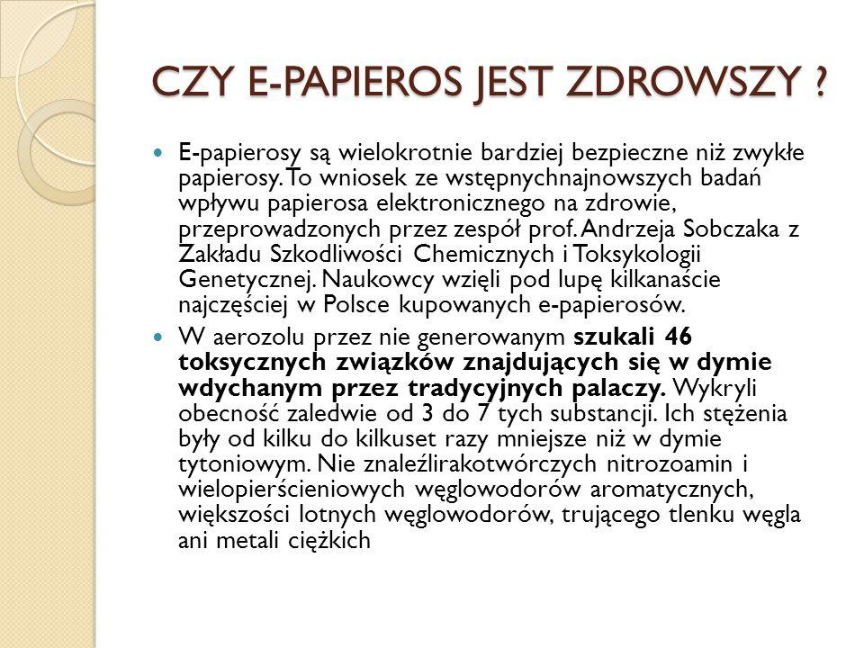 CZY E-PAPIEROS JEST ZDROWSZY