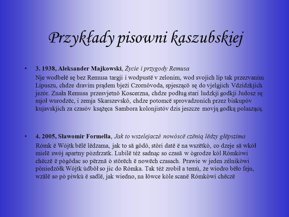 Przykłady pisowni kaszubskiej
