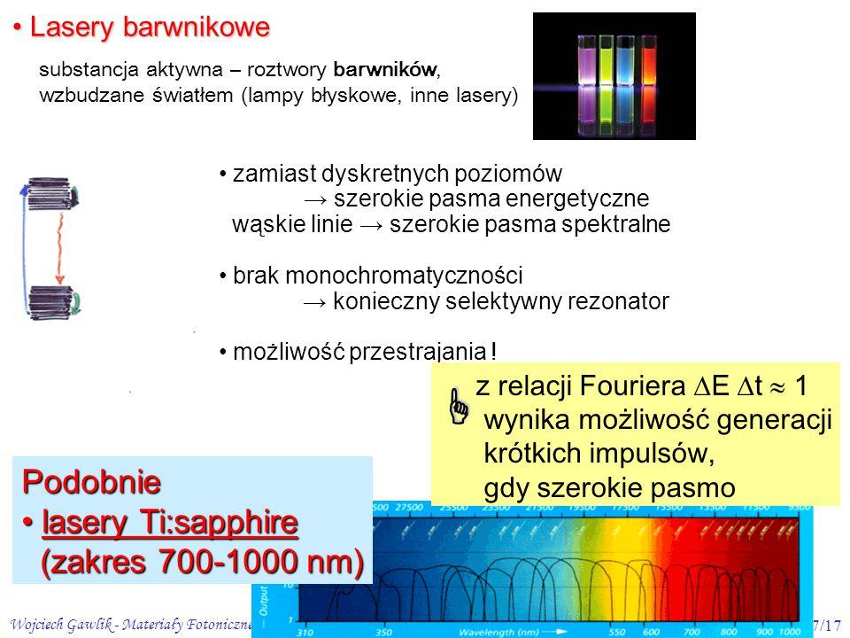  Podobnie lasery Ti:sapphire (zakres 700-1000 nm) Lasery barwnikowe