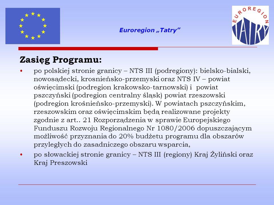 """Euroregion """"Tatry Zasięg Programu:"""