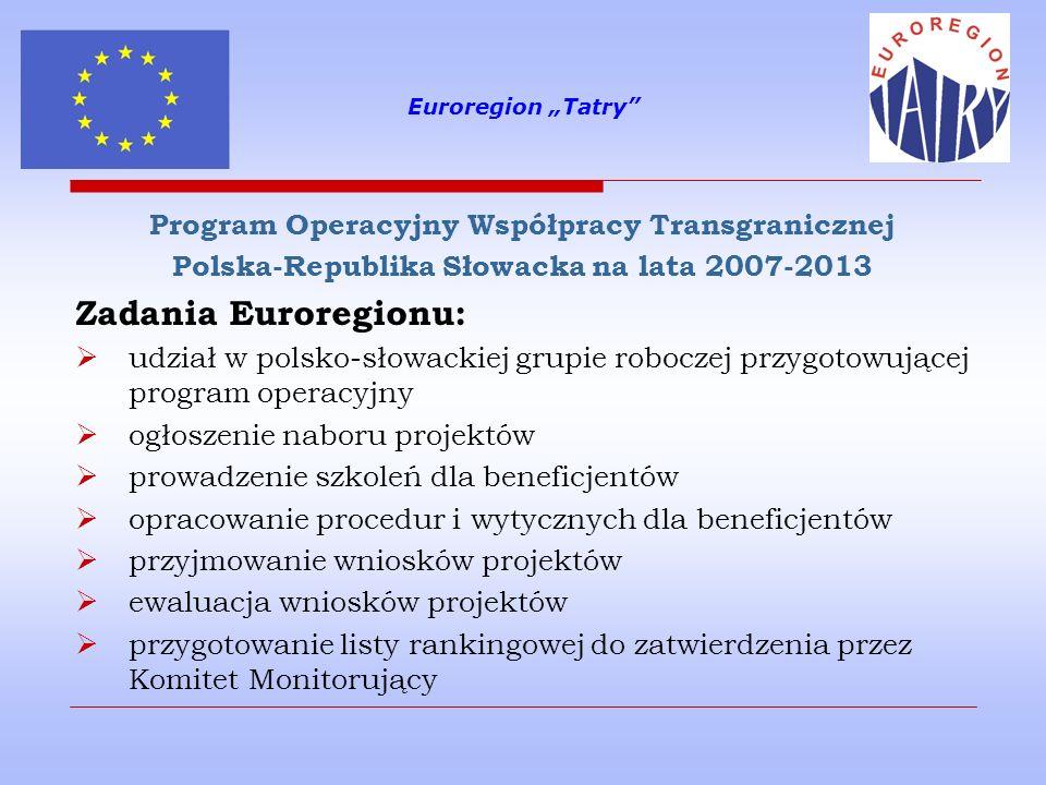 Zadania Euroregionu: Program Operacyjny Współpracy Transgranicznej