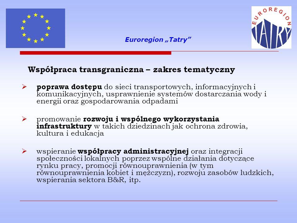 """Euroregion """"Tatry Współpraca transgraniczna – zakres tematyczny."""