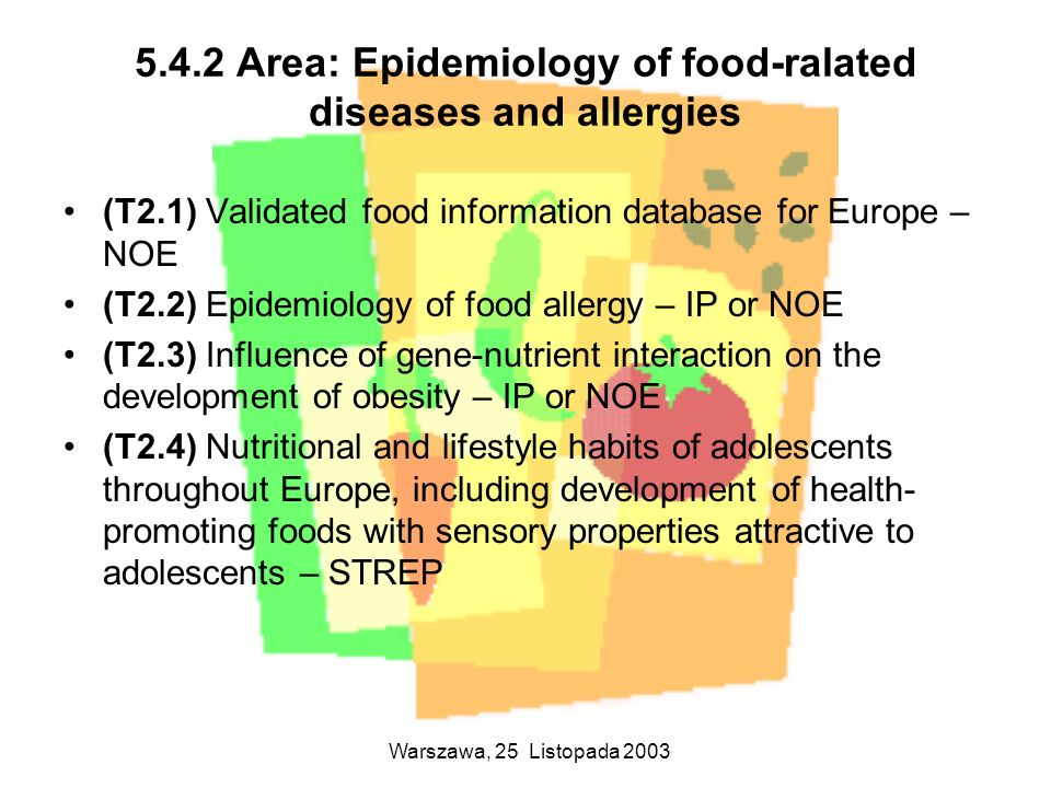 5.4.2 Area: Epidemiology of food-ralated diseases and allergies