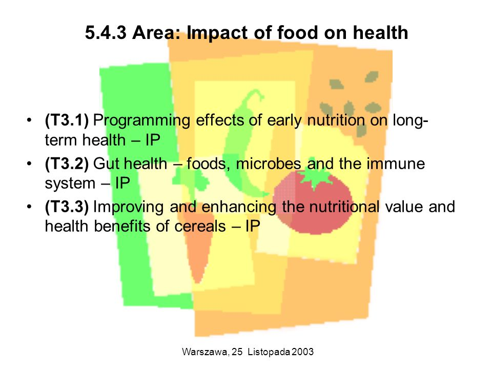 5.4.3 Area: Impact of food on health