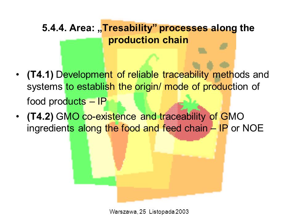"Area: ""Tresability processes along the production chain"