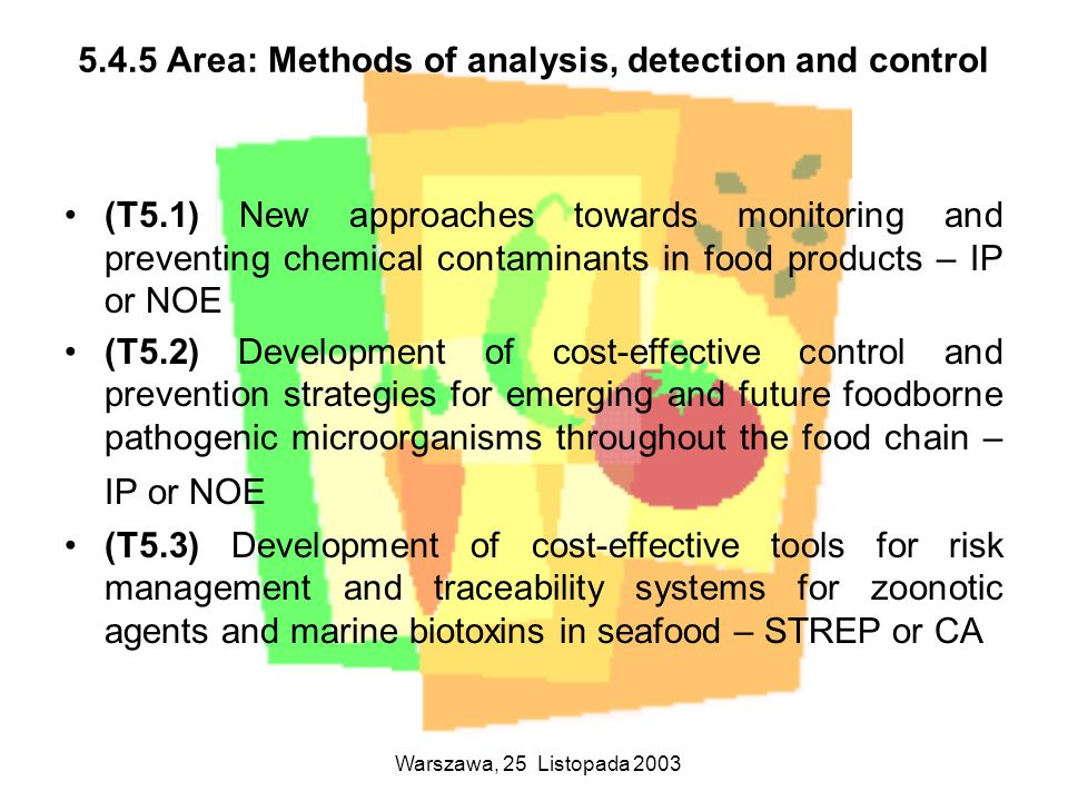 5.4.5 Area: Methods of analysis, detection and control