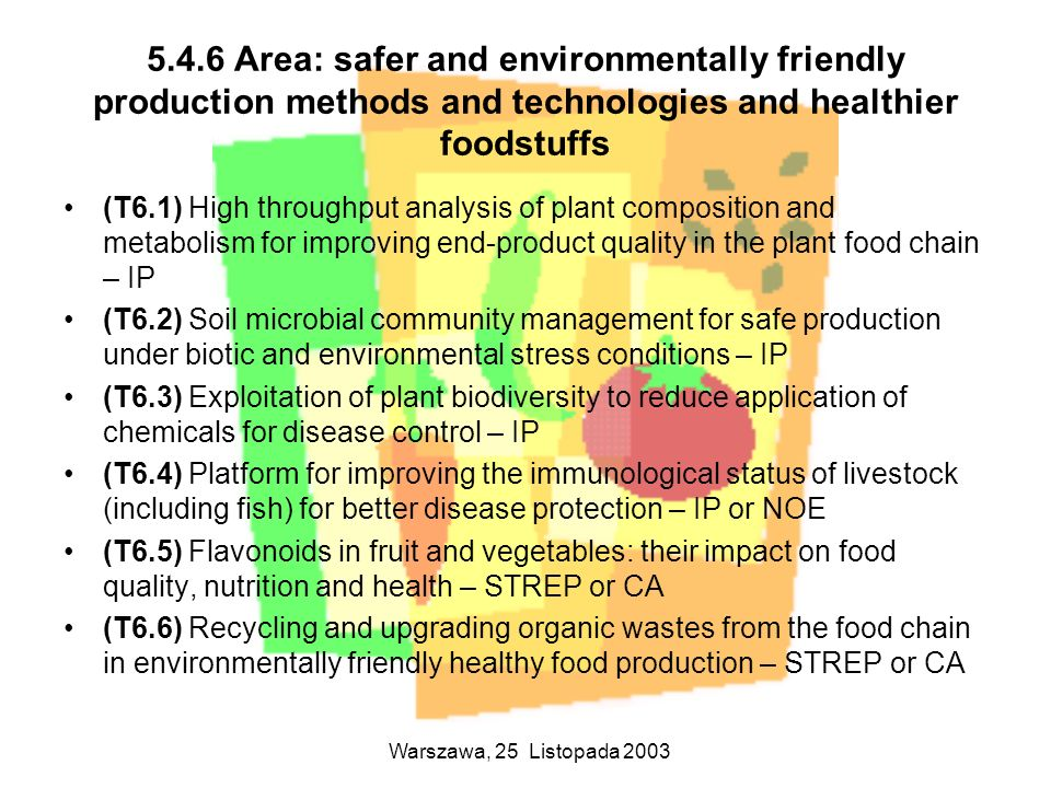 5.4.6 Area: safer and environmentally friendly production methods and technologies and healthier foodstuffs