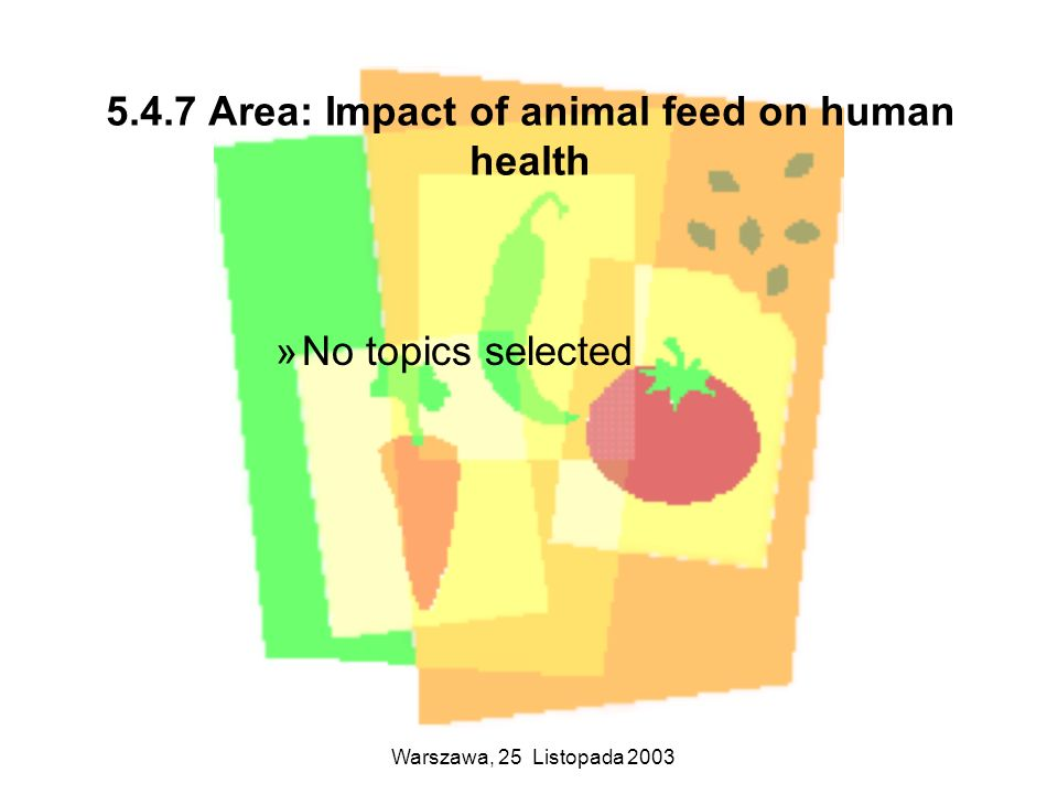 5.4.7 Area: Impact of animal feed on human health
