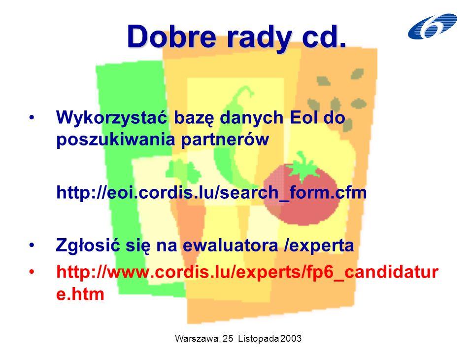 Dobre rady cd. Wykorzystać bazę danych EoI do poszukiwania partnerów