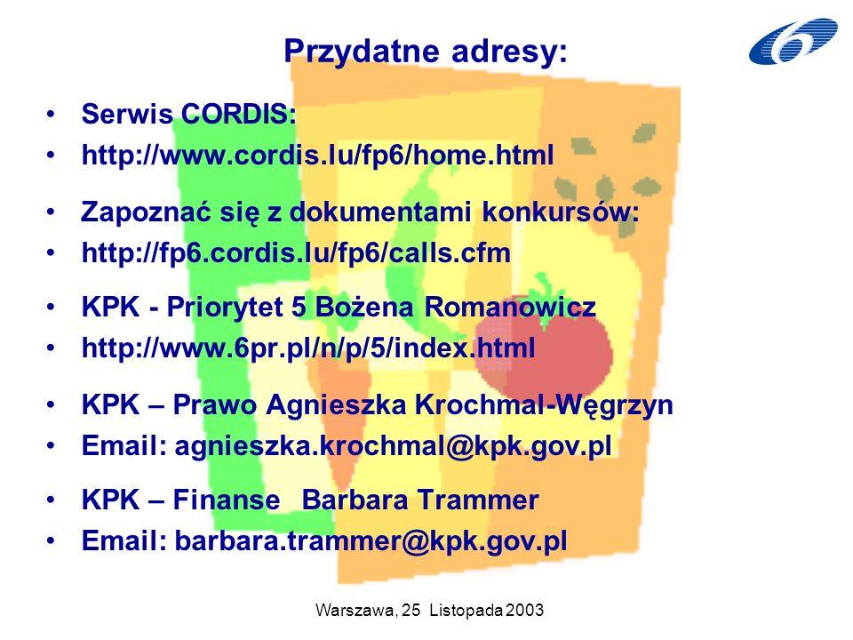 Przydatne adresy: Serwis CORDIS: http://www.cordis.lu/fp6/home.html