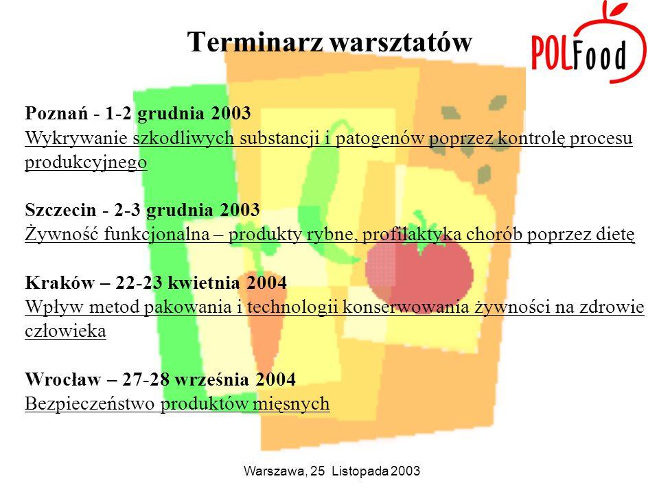 Terminarz warsztatów Poznań - 1-2 grudnia 2003