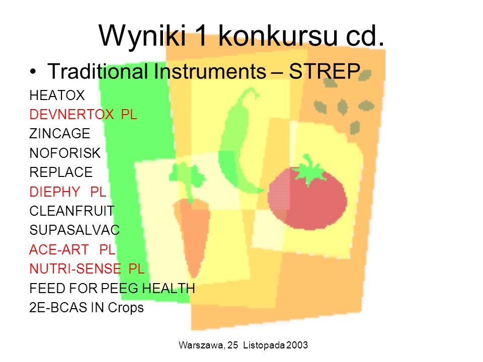 Wyniki 1 konkursu cd. Traditional Instruments – STREP HEATOX
