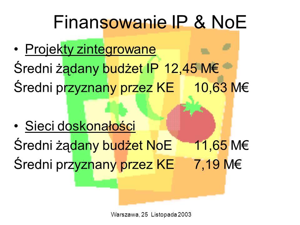 Finansowanie IP & NoE Projekty zintegrowane