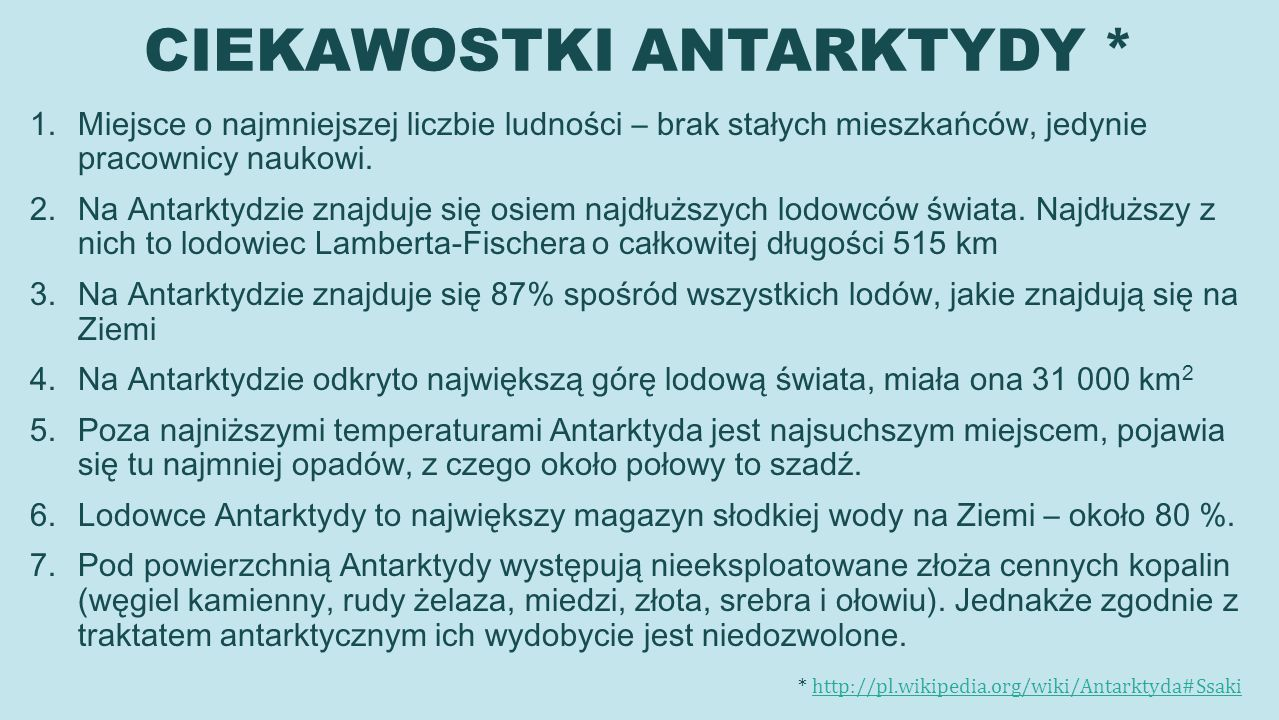 CIEKAWOSTKI ANTARKTYDY *
