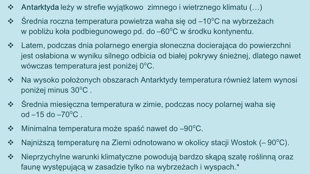 Antarktyda leży w strefie wyjątkowo zimnego i wietrznego klimatu (…)