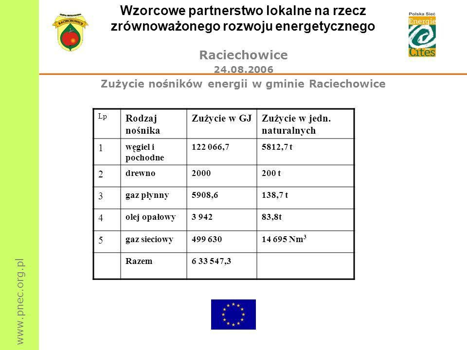Zużycie nośników energii w gminie Raciechowice