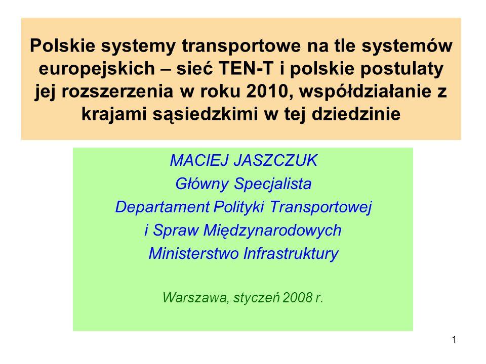 Polskie systemy transportowe na tle systemów europejskich – sieć TEN-T i polskie postulaty jej rozszerzenia w roku 2010, współdziałanie z krajami sąsiedzkimi w tej dziedzinie