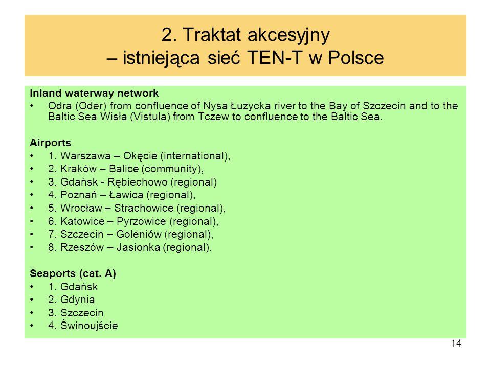 2. Traktat akcesyjny – istniejąca sieć TEN-T w Polsce