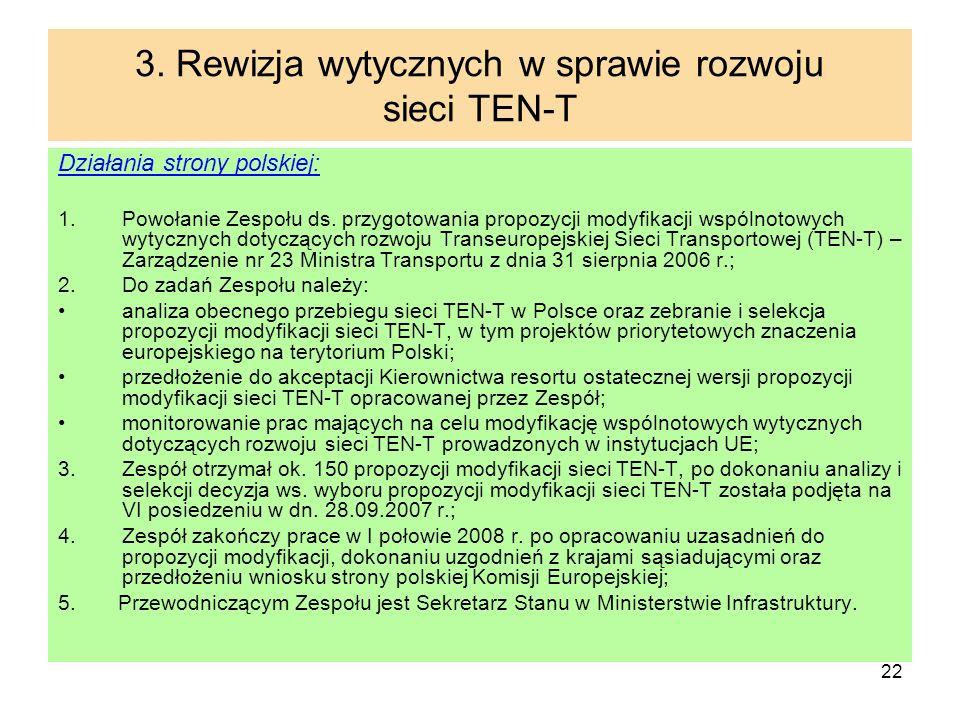 3. Rewizja wytycznych w sprawie rozwoju sieci TEN-T