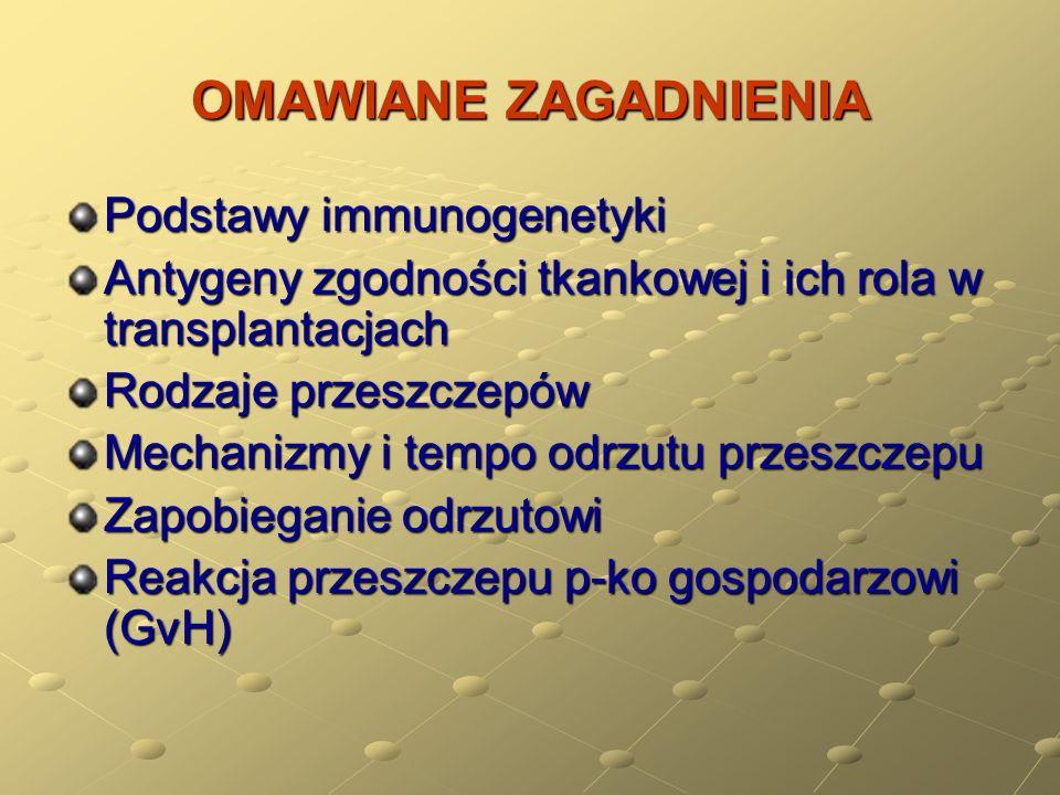 OMAWIANE ZAGADNIENIA Podstawy immunogenetyki