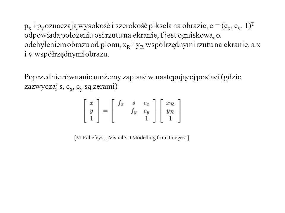px i py oznaczają wysokość i szerokość piksela na obrazie, c = (cx, cy, 1)T odpowiada położeniu osi rzutu na ekranie, f jest ogniskową,  odchyleniem obrazu od pionu, xR i yR współrzędnymi rzutu na ekranie, a x i y współrzędnymi obrazu.