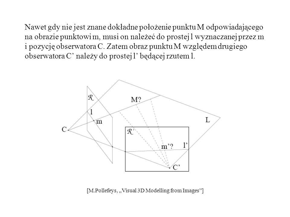 Nawet gdy nie jest znane dokładne położenie punktu M odpowiadającego na obrazie punktowi m, musi on należeć do prostej l wyznaczanej przez m i pozycję obserwatora C. Zatem obraz punktu M względem drugiego obserwatora C' należy do prostej l' będącej rzutem l.