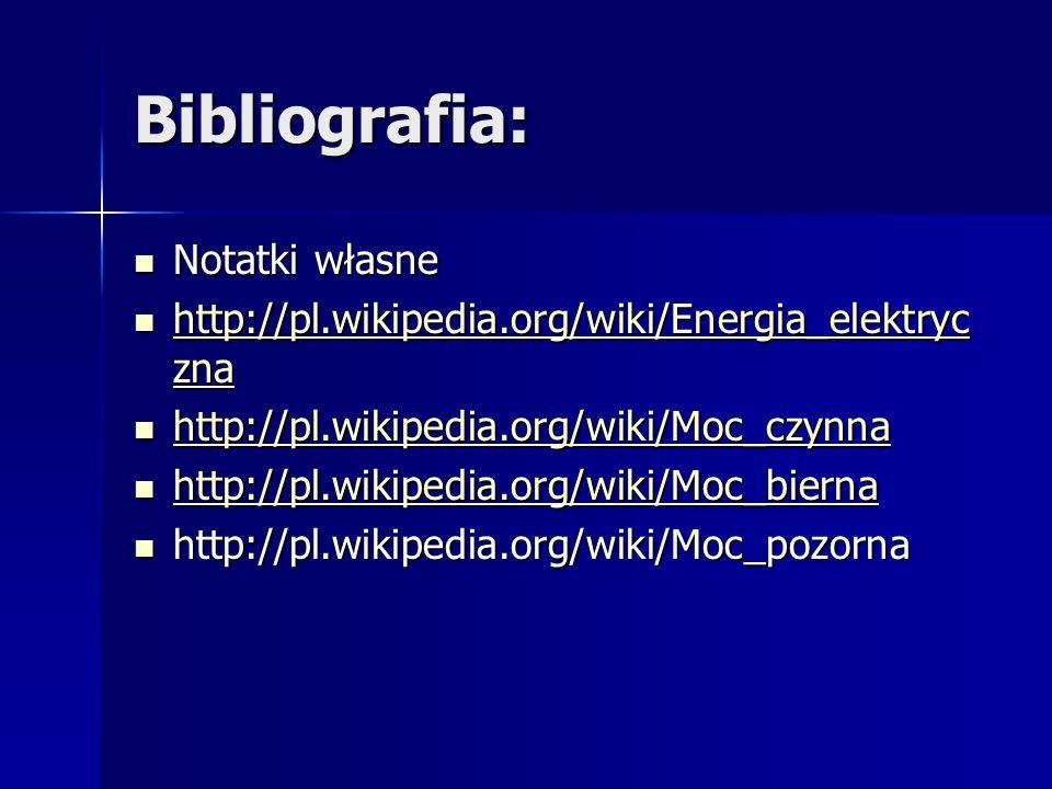 Bibliografia: Notatki własne