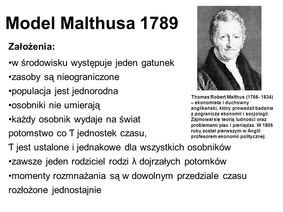 Model Malthusa 1789 Założenia: w środowisku występuje jeden gatunek