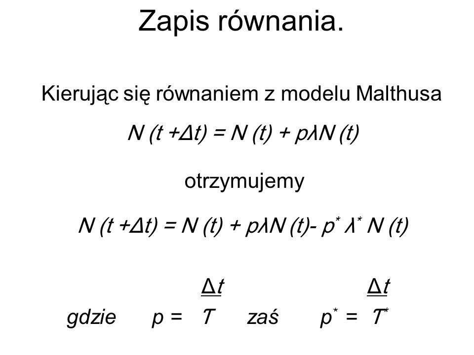 Zapis równania. Kierując się równaniem z modelu Malthusa