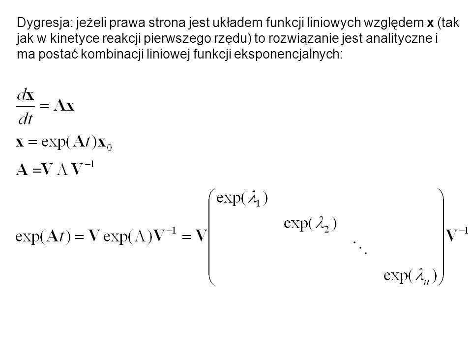 Dygresja: jeżeli prawa strona jest układem funkcji liniowych względem x (tak jak w kinetyce reakcji pierwszego rzędu) to rozwiązanie jest analityczne i ma postać kombinacji liniowej funkcji eksponencjalnych: