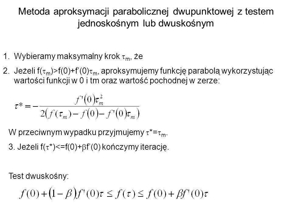 Metoda aproksymacji parabolicznej dwupunktowej z testem jednoskośnym lub dwuskośnym