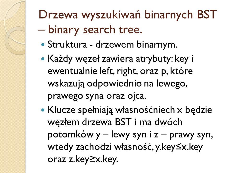 Drzewa wyszukiwań binarnych BST – binary search tree.